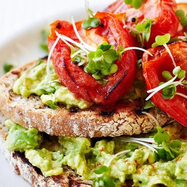 Roasted Tomatoes and Avocado on Toast [vegan] via Olive Magazine