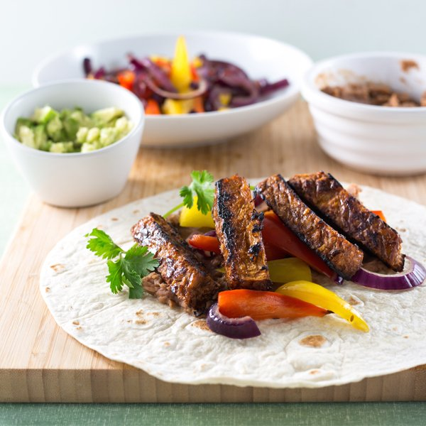 Vegetarian Pulled Pork Fajita with Smashed Avocado (picture & courtesy of Linda Mc Cartney's)