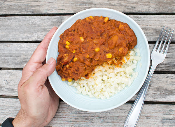 3 Bean Chilli with Cauliflower Rice