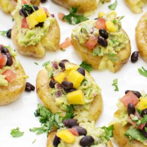 Crushed Baby Gem Potatoes with Black Bean Salsa & Guacamole [vegan] [gluten free] by The Flexitarian