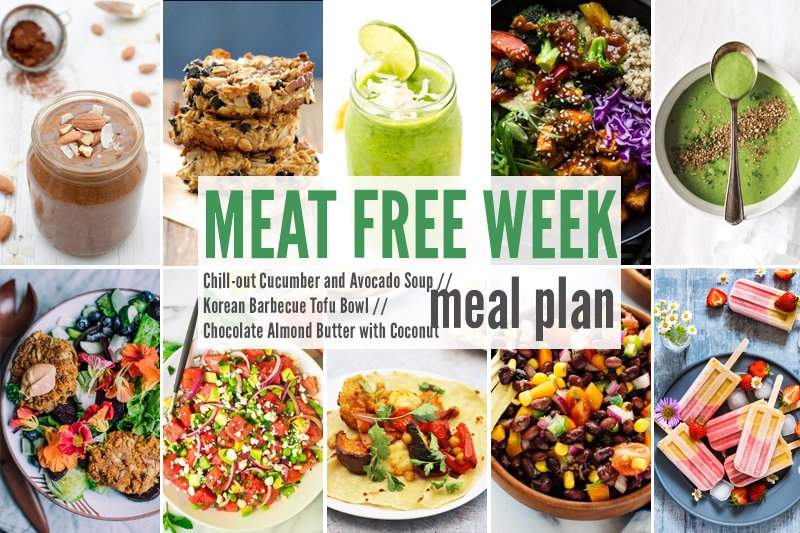 Meat Free Meal Plan: Korean Barbecue Tofu Bowl , Chill-out Cucumber and Avocado Soup + Chocolate Almond Butter with Coconut