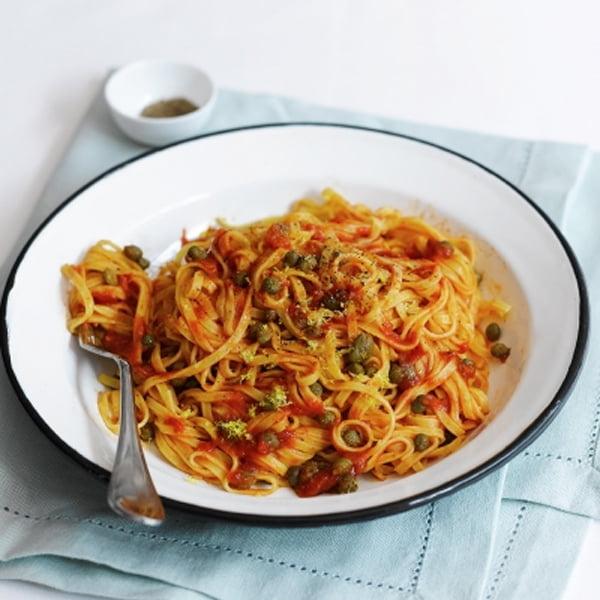 Tomato & Caper Linguine [flexitarian] via Jamie Oliver