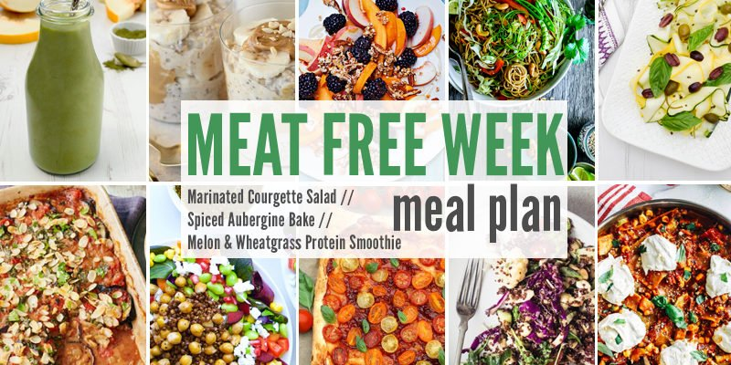 Meat Free Meal Plan: Marinated Courgette Salad with Capers & Olives, Spiced Aubergine Bake + Melon & Wheatgrass Protein Smoothie