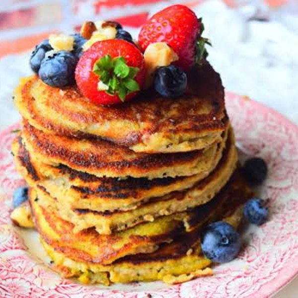 Almond & Banana Pancakes [vegetarian] by Just A Pinch