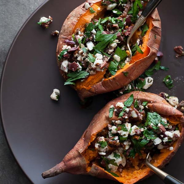 Baked Sweet Potatoes Stuffed with Feta, Olives and Sundried Tomatoes [vegetarian] by Gourmande In The Kitchen