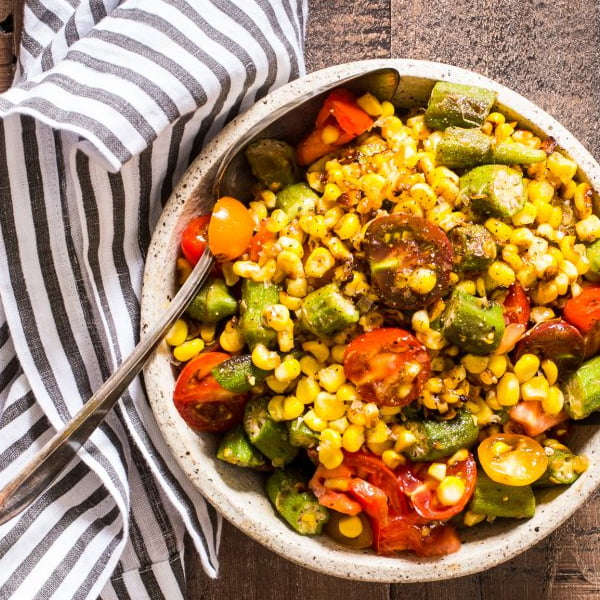 Okra, Corn and Tomato Salad [vegan] by Girl In The Little Red Kitchen