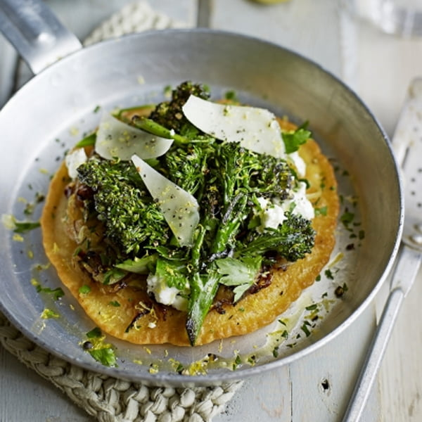 Socca Pancakes with Broccoli & Cheese [flexitarian] by Jamie Oliver