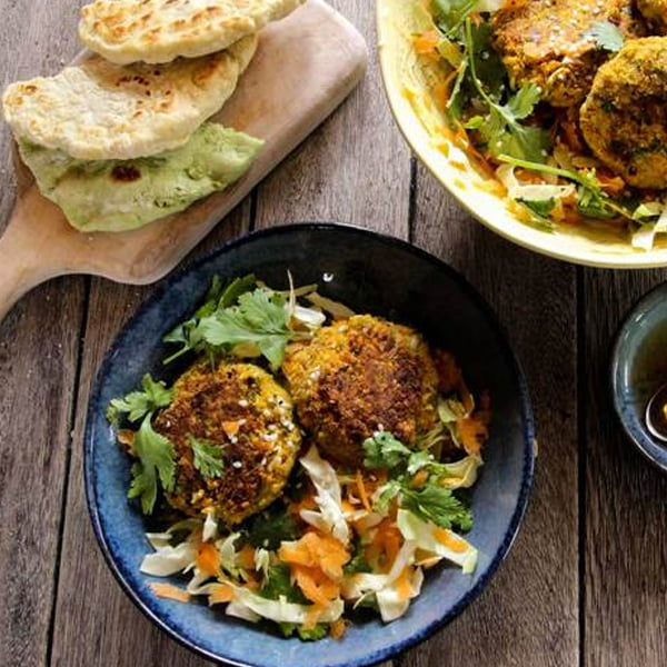 Spiced Carrot and Quinoa Falafels with Slaw [vegan] via Hodmedod's