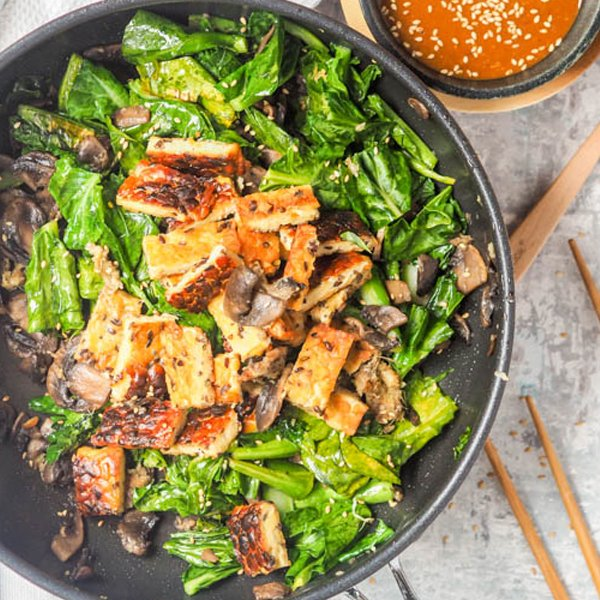 Tempeh Stir Fry with Spicy Tahini Sauce [vegan] by Avocado Pesto