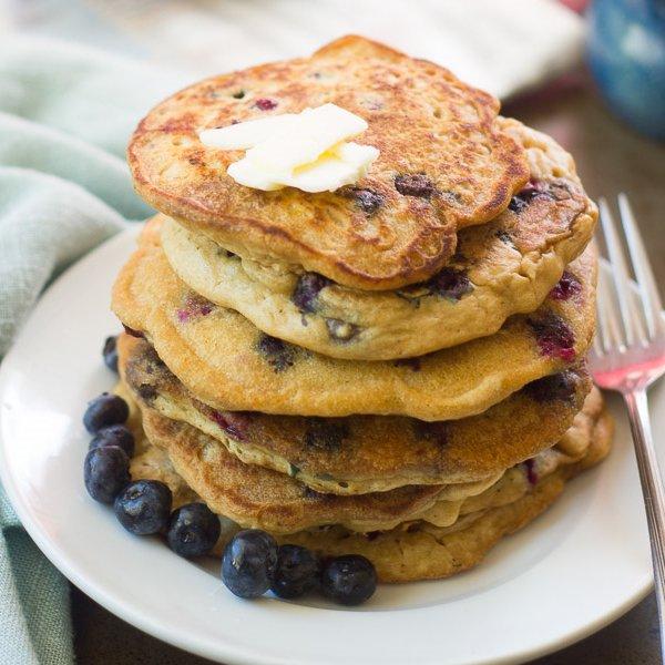 Vegan Blueberry Buttermilk Pancakes by Connoisseurus Veg