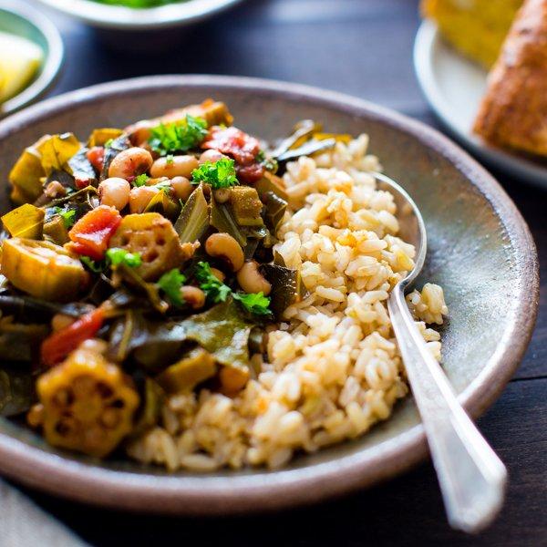 Harissa Stewed Black-Eyed Peas with Okra and Collard Greens [vegan] by Vanilla and Bean