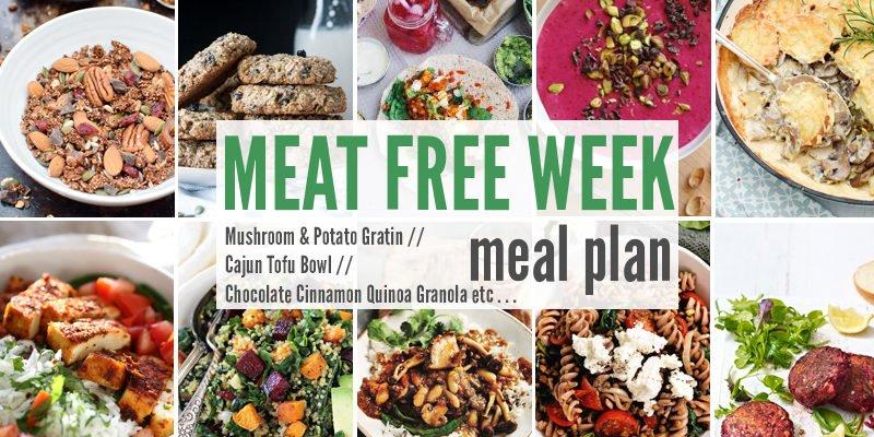 Meat Free Meal Plan: Mushroom & Potato Gratin, Cajun Tofu Bowl + Chocolate Cinnamon Quinoa Granola