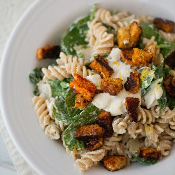 Cashew Cream Pasta with Lemon, Spinach, Tempeh Bacon Bits by Healthy Happy Life