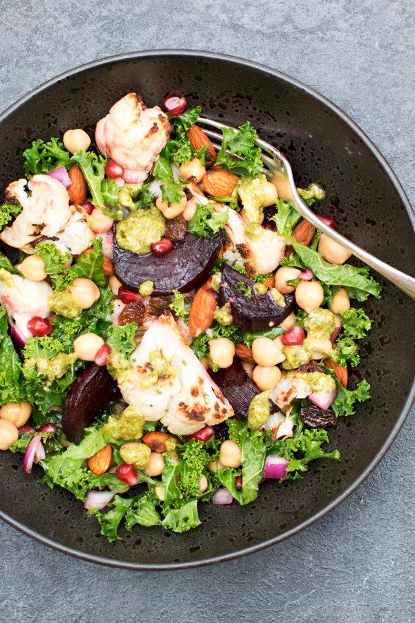 Beetroot & Cauliflower Kale Salad with Pesto Dressing [vegan] [gluten free] by The Flexitarian