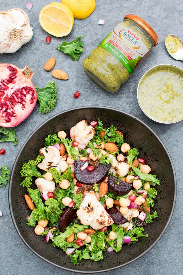 Beetroot & Cauliflower Kale Salad with Pesto Dressing [vegan] [gluten free] by The Flexitarian
