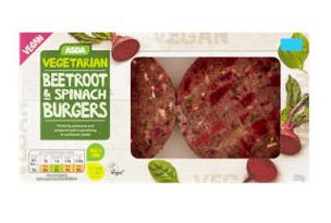 Asda Vegetarian & Vegan 2 Beetroot & Spinach Burgers