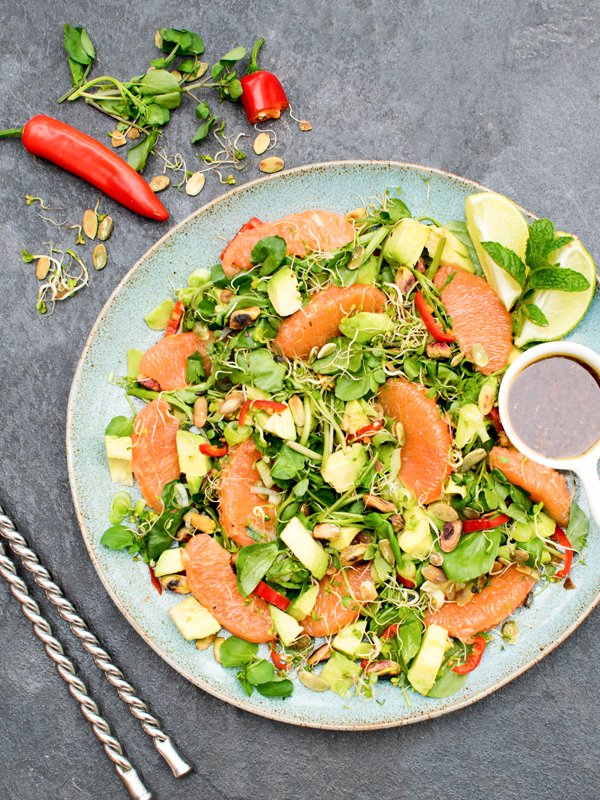 Grapefruit & Avocado Salad with Miso Ginger Dressing [vegan] [gluten free]