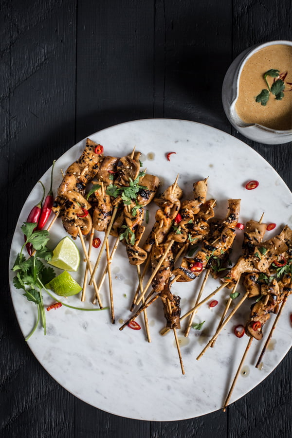 King Satay With Spicy Peanut-Ginger Sauce [vegan] from The Wicked Healthy Cookbook - Picture Credit Eva Kosmas Flores