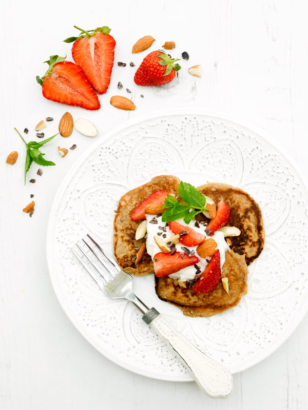 Strawberry Ricotta Pancakes[vegetarian] © Annabelle Randles / The Flexitarian