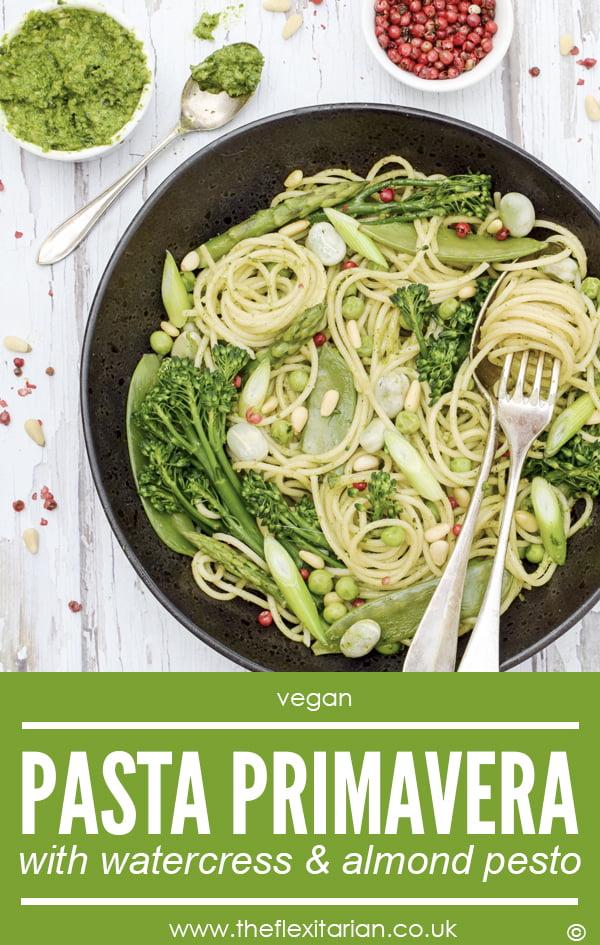 Pasta Primavera with Watercress & Almond Pesto [vegan] © The Flexitarian - Annabelle Randles