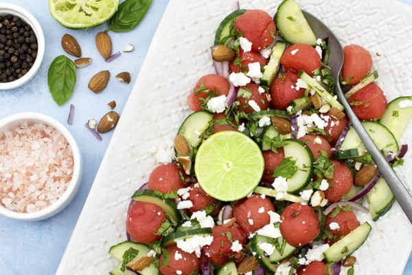 Watermelon Salad with Cucumber & Feta [vegetarian] © 2019 - The Flexitarian