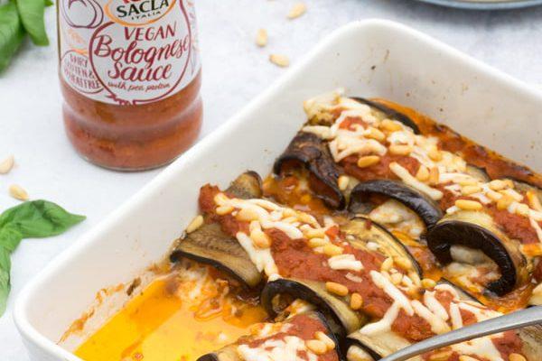 Aubergine Roll Ups - Vegan Bolognese Sauce Sacla by Annabelle Randles | The Flexitarian