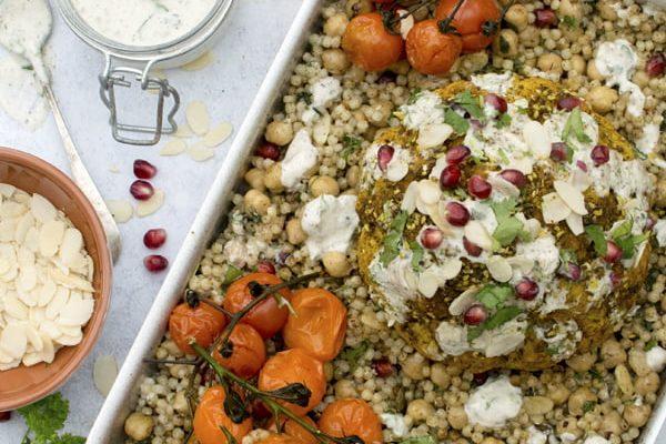 Whole Roasted Cauliflower with Za'atar Couscous [vegan]