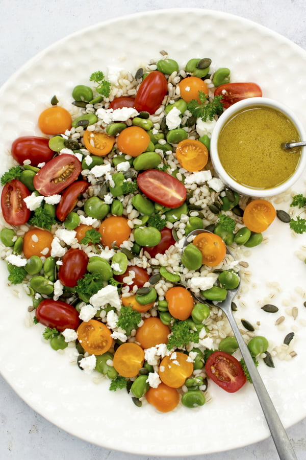 Broad Bean, Tomato & Barley Salad | The Flexitarian