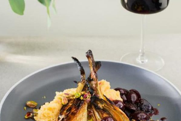 Whole Roasted Fennel with Cherries and Pistachios and Creamy Polenta Mash [vegan] by Sarah Philpott